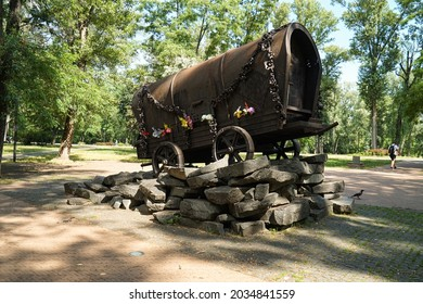 "Kiev, Kiev region, Ukraine - 07 08 2021. Monument ""Romskaya kibitka"" in Babin Yar in Kiev in memory of the Gypsies who were shot in World War II"
