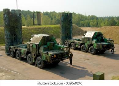 Kiev Region, Ukraine - 15 August 2008. Launcher missile air defense systems S-300  on the firing position.