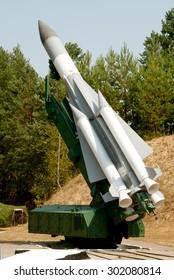 KIEV REGION, UKRAINE - 15 AUGUST 2008. Launcher missile air defense systems S-200  Vega on the firing position.