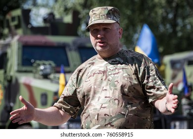 KIEV REGION, UKRAINE - July 22, 2015: Secretary of National Security and Defense Council of Ukraine Olexandr Turchynov during a briefing on the basis of National Guard in Kiev region, Ukraine.