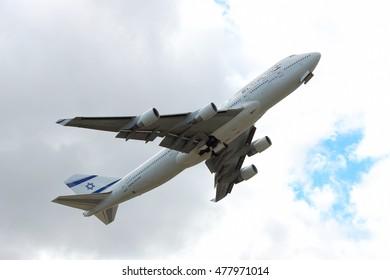 Kiev Region, Ukraine - October 2, 2011: El Al El Al Boeing 747-400 plane is taking off into cloudy sky