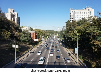 Kiev, Kiev region/Ukraine- 09 30 2018. One and the avenues of Kiev, on which cars are traveling at rush hour. In the distance you can see the Monument, a symbol of victory in the Second World War.