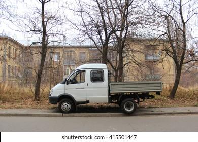 KIEV, KIEV REGION/UKRAINE- CIRCA SEPTEMBER 2014: Commercial car GAZEL in Kiev politechnic institute campus.