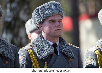 KIEV REG,UKRAINE - Mar 26, 2016: Soldiers of the National Guard of Ukraine carrying the Guard of Honour during a visit of President of Ukraine to the training center of the National Guard of Ukraine