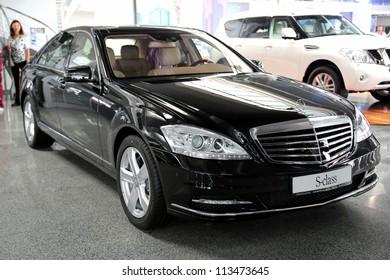 "KIEV - SEPTEMBER 7: Black Mercedes-Benz S-class (S 500) at yearly automotive-show ""Capital auto show 2012"". September 7, 2012 in Kiev, Ukraine"