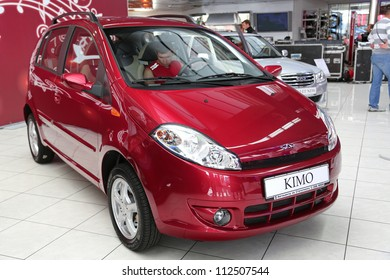 "KIEV - SEPTEMBER 7: Red Chery Kimo at yearly automotive-show ""Capital auto show 2012"". September 7, 2012 in Kiev, Ukraine"