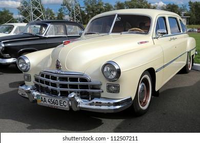 "KIEV - SEPTEMBER 7: ZIM (Soviet-made automobile) at yearly automotive-show ""Capital auto show 2012"". September 7, 2012 in Kiev, Ukraine"