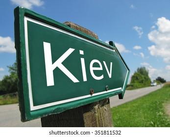 Kiev signpost along a rural road