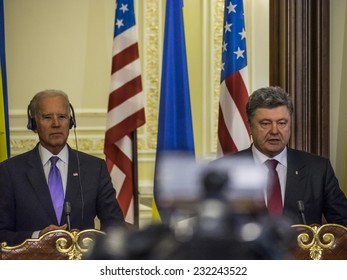 KIEV, UKRAIN - November 21, 2014: Vice President Joseph Biden and President of Ukraine Petro Poroshenko