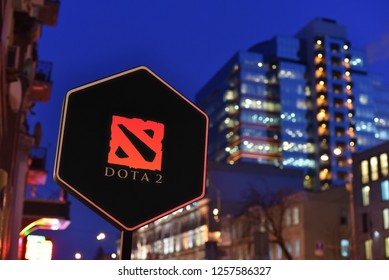 Kiev / Ukraine - 01.22.18: Sign of Dota 2 online game