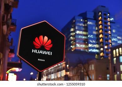 Kiev / Ukraine - 01.22.18: Sign of Huawei Store