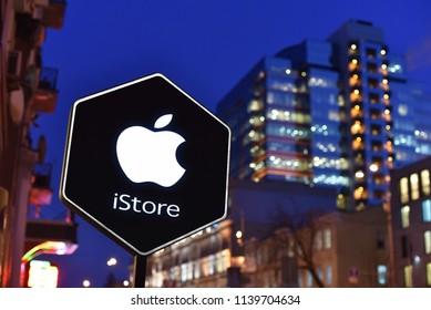 Kiev / Ukraine - 01.22.18: Signboard Apple Store iStore