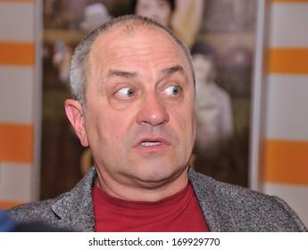 KIEV, UKRAINE  03 OCTOBER 2013: The international actor and producer Victor Andrienko gives an interview on the premiere of Ukrainian historical film «Ivan Power» on October 03, 2013 in Kiev, Ukraine