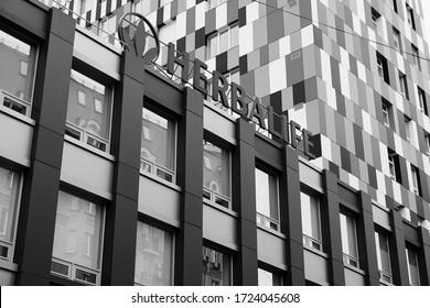 Kiev. Ukraine - 05/01/2020: Herbalife multistory building in black and white.