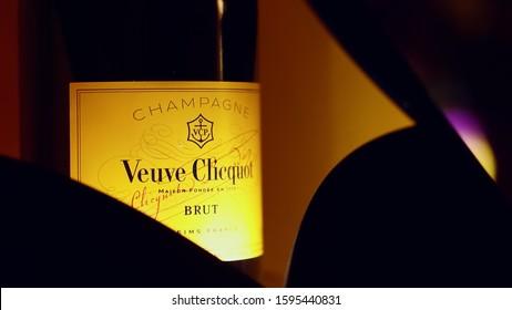 Kiev / Ukraine - 05.10.2019: Veuve Clicquot Champagne Bottle Party Luxury Elite Legendary Brand.