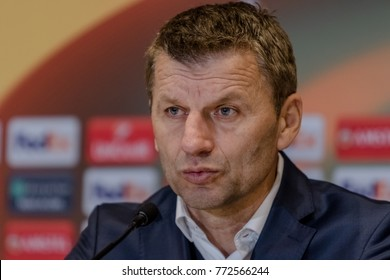 KIEV, UKRAINE - 07 December, 2017: Head coach of FC Partizan - Miroslav Djukic answers questions from journalists after the match of the Europa League at the NSC Olympiyskiy Stadium