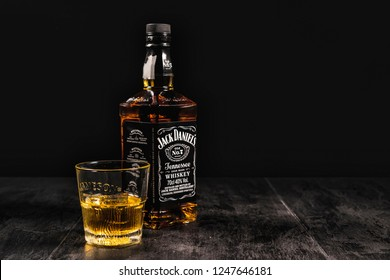 Kiev, Ukraine - 07 November 2018. Jack Daniel's is a brand of Tennessee whiskey and the top selling American whiskey in the world - illustrative editorial
