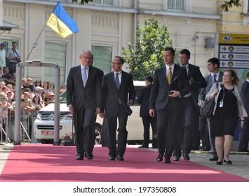 KIEV, UKRAINE -Â?Â? 08 JUNE 2014: The President of European Council H.Van Rompuy and ambassador J.Tombinski visit the inauguration of Ukrainian President Petro Poroshenko on June 08, 2014 in Kiev, Ukraine