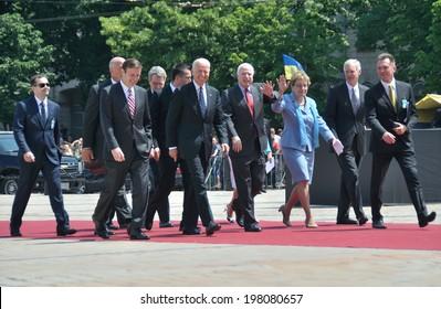 KIEV, UKRAINE - 08 JUNE 2014: The vice-president of USA Joe Biden, senators John McCain, Marcy Kaptur visit the inauguration of Ukrainian President Petro Poroshenko on June 08, 2014 in Kiev, Ukraine