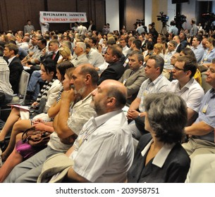 KIEV, UKRAINE - 09 JULY 2014: The President of Ukraine Petro Poroshenko meets with non-government organisations, intellectual and business elites of country on July 09, 2014 in Kiev, Ukraine