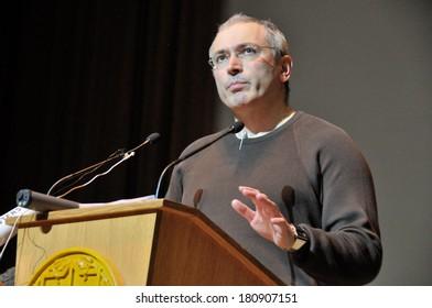 KIEV, UKRAINE � 10 MARCH 2013: The Russian businessman, dissident and public figure Mikhail Khodorkovsky speaks at the open public lection for Ukrainian students on March 10, 2013 in Kiev, Ukraine