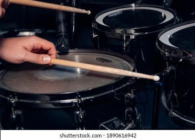 Kiev - Ukraine - 12.06.2020: Drum sticks in hand.