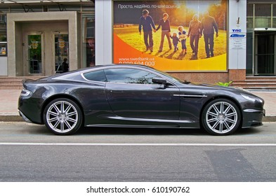 Kiev, Ukraine; 14 May 2011, Aston Martin DBS in the street of Kiev. Editorial photo.