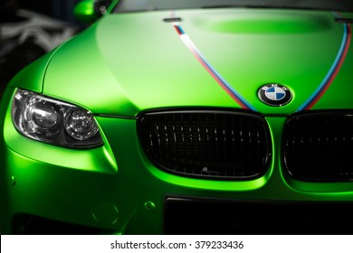 Kiev, Ukraine - 14 may 2014: BMW M3 tuning sportscar. BMW German beast. Green BMW M3 studio shoot.