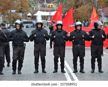 KIEV, UKRAINE � 14 OCTOBER 2007: Unknown police-officers guard the political meeting of communist on October 14, 2007 in Kiev, Ukraine.