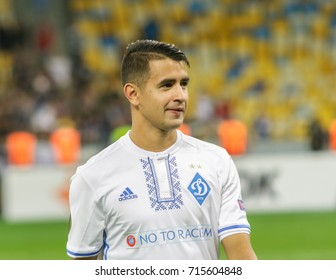Kiev, Ukraine - 14 September, 2017: Derlis Gonzalez of Dynamo Kiev thank the tribune for their support after the UEFA Europa League match at NSK Olimpiyskiy stadium