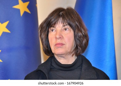 KIEV, UKRAINE � 15 DECEMBER 2013: Rebecca Harms German politician and member of the European parliament for Alliance '90/The Greens talks with unknown journalists on December 15, 2013 in Kiev, Ukraine