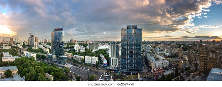 KIEV, UKRAINE - 15 June 2017: Panorama of kyiv city center, business cityscape of Kiev, Ukraine. Old and modern architecture in capital city of Ukraine, beautiful landscape of Kiev city center