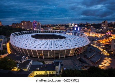 KIEV, UKRAINE - 15 June 2017: Panorama of kyiv city center, NSC Olympiysky Stadium of Kiev, Ukraine. Old and modern architecture in capital city of Ukraine, beautiful landscape of Kiev city center