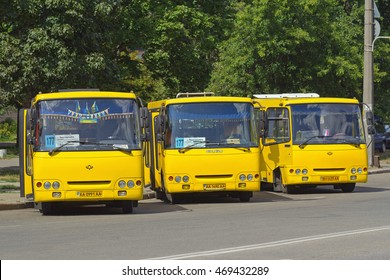 Kiev, Ukraine - 16 August, 2016: Three shuttle buses waiting for their next run. These types of buses are very popular across Ukraine.