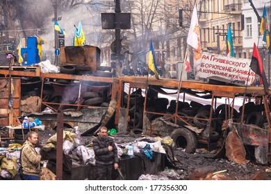 "KIEV, UKRAINE - 18 FEBRUARY: Protest against ""Dictatorship"" in Ukraine turns violent on Euromaydan in Kiev. Against the president Yanukovych on 18 February, 2014 in Kiev, Maidan, Ukraine."