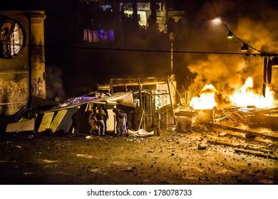 "KIEV, UKRAINE -?? 18 FEBRUARY: Protest against ""Dictatorship"" in Ukraine turns violent on Euromaydan in Kiev. Against the president Yanukovych on 18 February, 2014 in Kiev, Maidan, Ukraine."