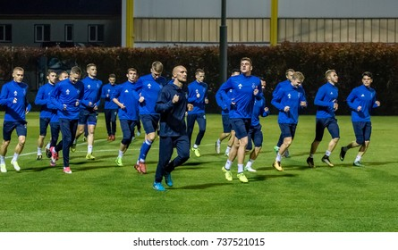 KIEV, UKRAINE - 18 OCTOBER, 2017: FC Dynamo Kiev training session before UEFA Europa League against BSC Young Boys
