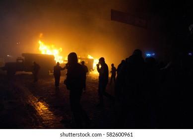 Kiev, Ukraine - 19 January, 2014: radical protesters burned the city