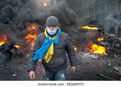 Kiev, Ukraine - 19 January, 2014: Revolution in Kiev. fire in the city center