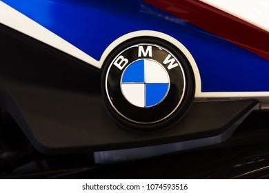 Kiev, Ukraine, 20 April 2018. BMW logo on fuel tank of motorbike.