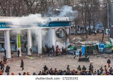 "KIEV, UKRAINE - 20 JANUARY: Protest against ""Dictatorship"" in Ukraine turns violent on Euromaydan in Kiev. Against the president Yanukovych on 20 January, 2014 in Kiev, Maidan, Ukraine."