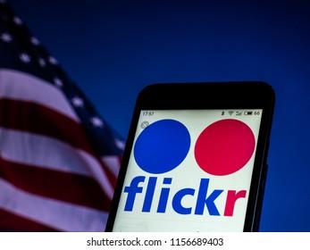 KIEV, UKRAINE - 2018/08/14: Flickr social networking website  seen displayed on a smart phone.