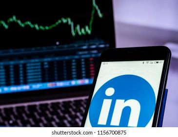 KIEV, UKRAINE - 2018/08/14: Linkedin social networking website  seen displayed on a smart phone.