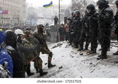 "KIEV, UKRAINE - 21 JANUARY: Protest against ""Dictatorship"" in Ukraine turns violent on Euromaidan in Kiev. Against the president Yanukovych on 21 January, 2014 in Kiev, Maidan, Ukraine"