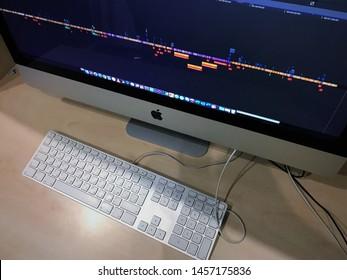 Kiev. Ukraine. 21-07_2019. Film editing process, computer editing program, Final Cut Pro X,  film making process. Apple Computer. iMac Pro . Close-up. Macro.