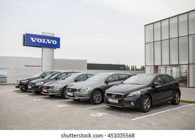 KIEV, UKRAINE - 22 JUNE: Presentation new luxury car Volvo S90 in oficial dealership in Ukraine. New model Volvo front of the store showroom. 22 June 2016, Kiev, Ukraine.