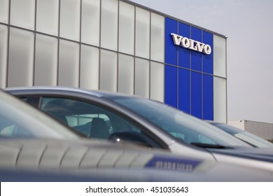 KIEV, UKRAINE - 22 JUNE: Presentation new luxury car Volvo S90 in oficial dealership in Ukraine. New model Volvo S90 front of the store showroom showroom. 22 June 2016, Kiev, Ukraine.