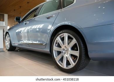 KIEV, UKRAINE - 22 JUNE: Presentation new luxury car Volvo S90 in oficial dealership in Ukraine. New model Volvo S90 in showroom. 22 June 2016, Kiev, Ukraine.