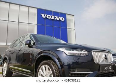KIEV, UKRAINE - 22 JUNE: Presentation new luxury car Volvo XC90 and S90 in oficial dealership in Ukraine. New model Volvo XC90 in showroom. 22 June 2016, Kiev, Ukraine.