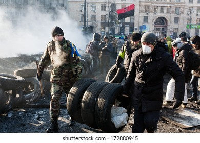 KIEV, UKRAINE - 23 JANUARY 2014: Unknown demonstrators at the Independence square during Ukrainian revolution on January 23, 2014 in Kiev, Ukraine.
